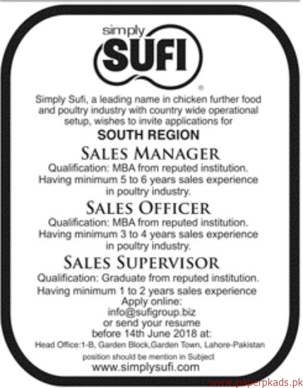 Simply Sufi Poultry Industry Jobs 2018