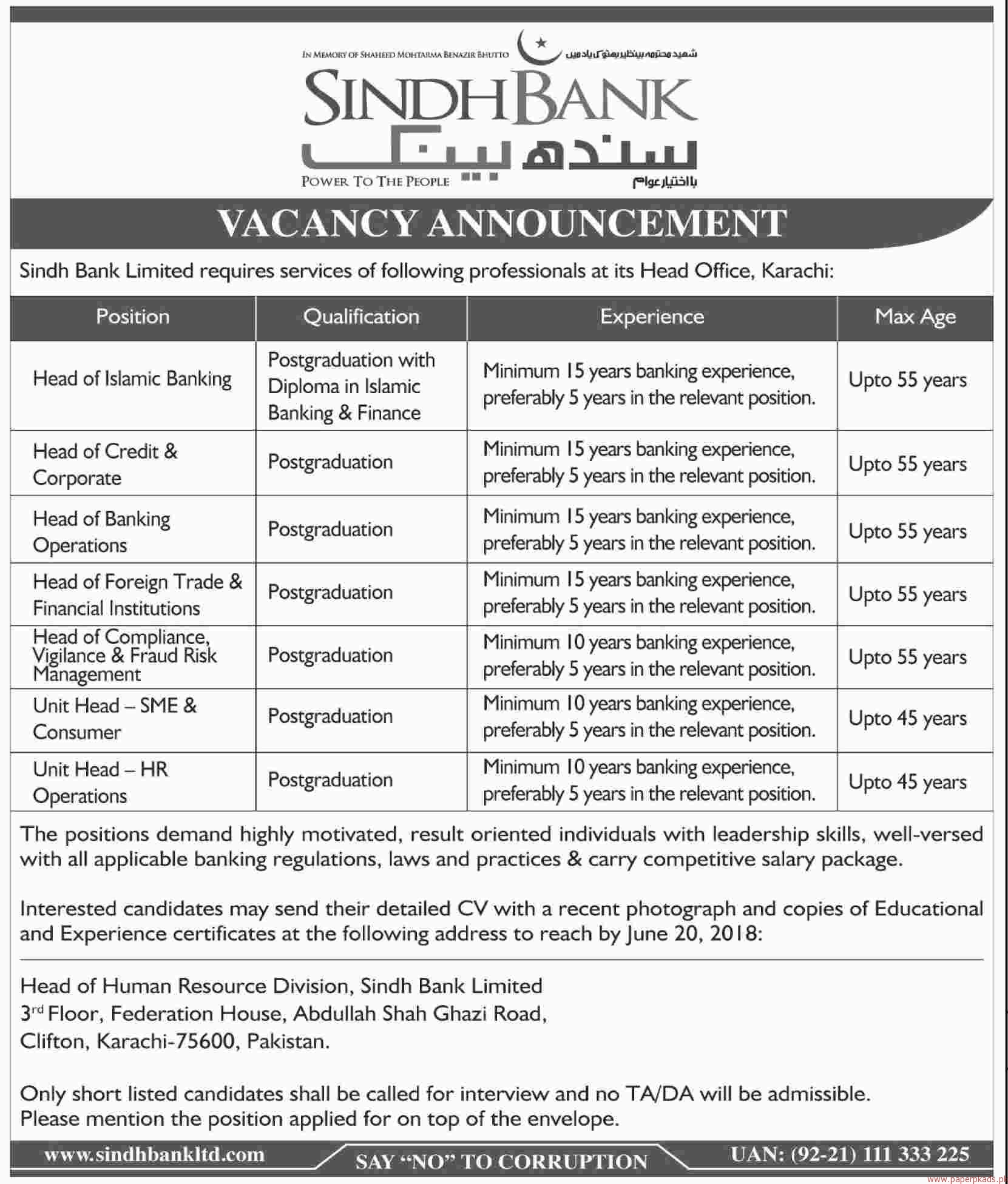 Sindh Bank Limited Jobs 2018 Latest