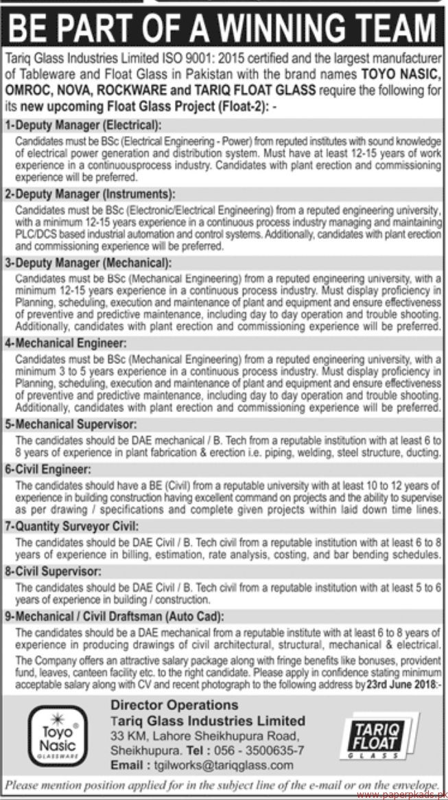 Tariq Glass Industries Limited Jobs 2018 Latest