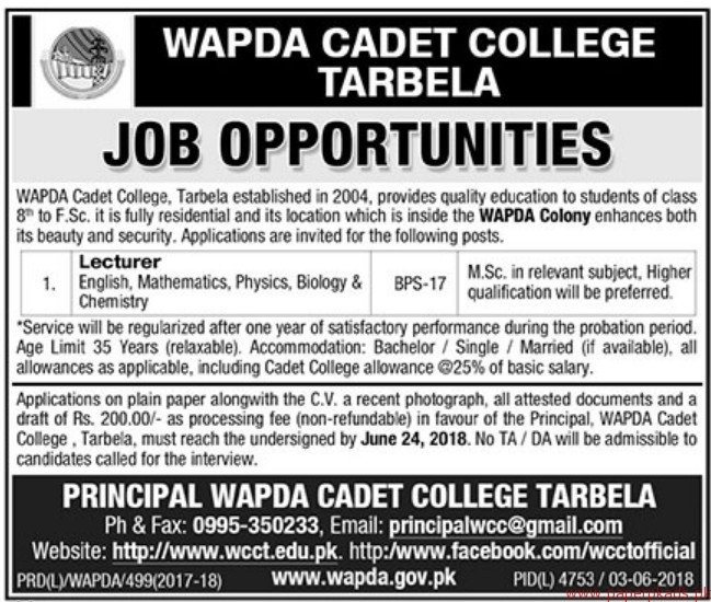 Wapda Cadet College Tarbela Jobs 2018 Latest