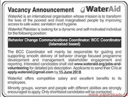 WaterAid International Organization jobs 2018