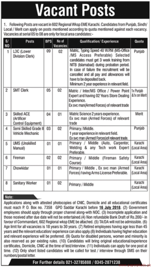 602 Regional Workshop Jobs 2018 Latest