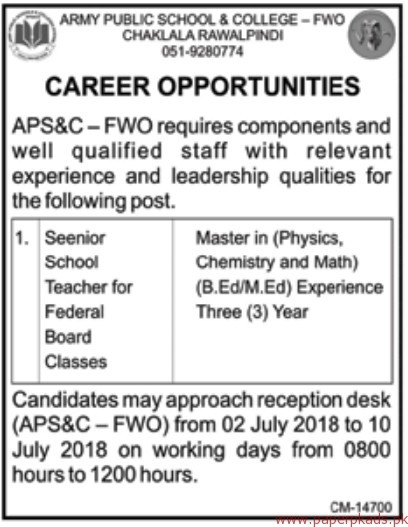 Army Public School and College FWO Jobs 2018 Latest