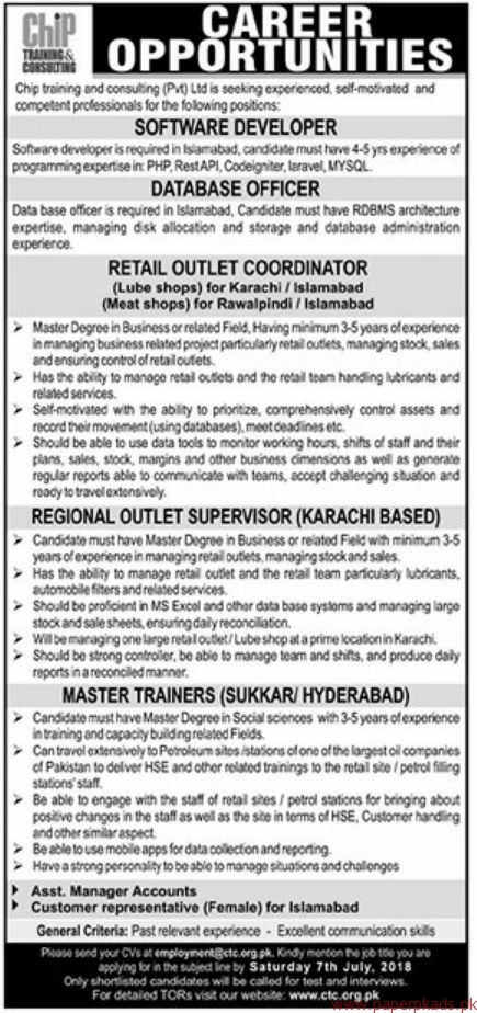 Chip Training and Consulting Private Limited Jobs 2018 Latest
