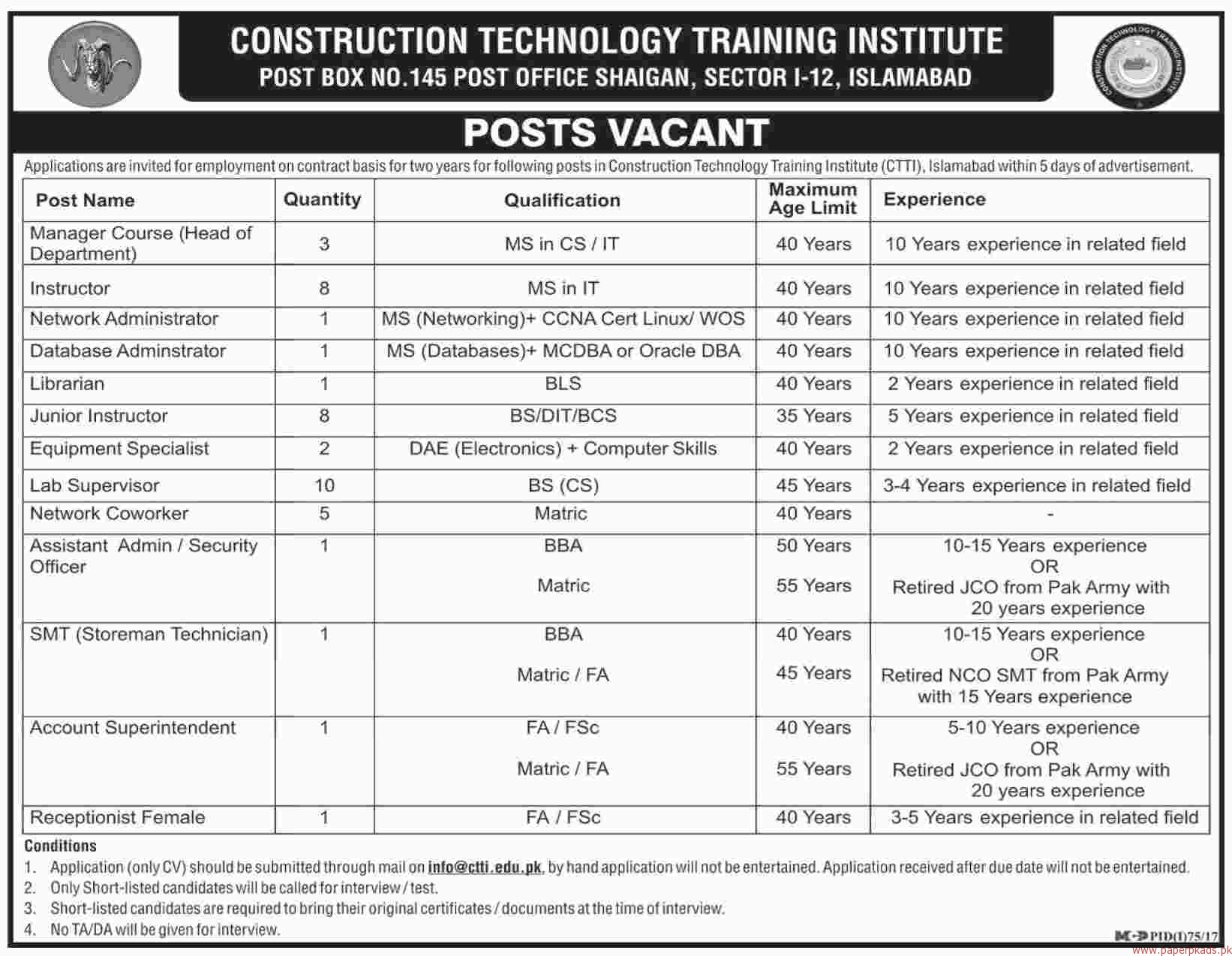 Construction Technology Training Institute Jobs 2018 Latest