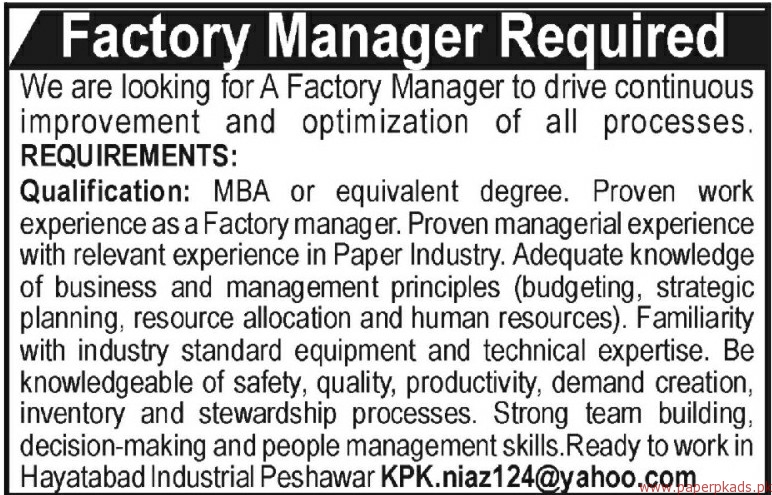 Factory Managers Required