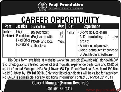 Fauji Foundation Jobs 2018 Latest