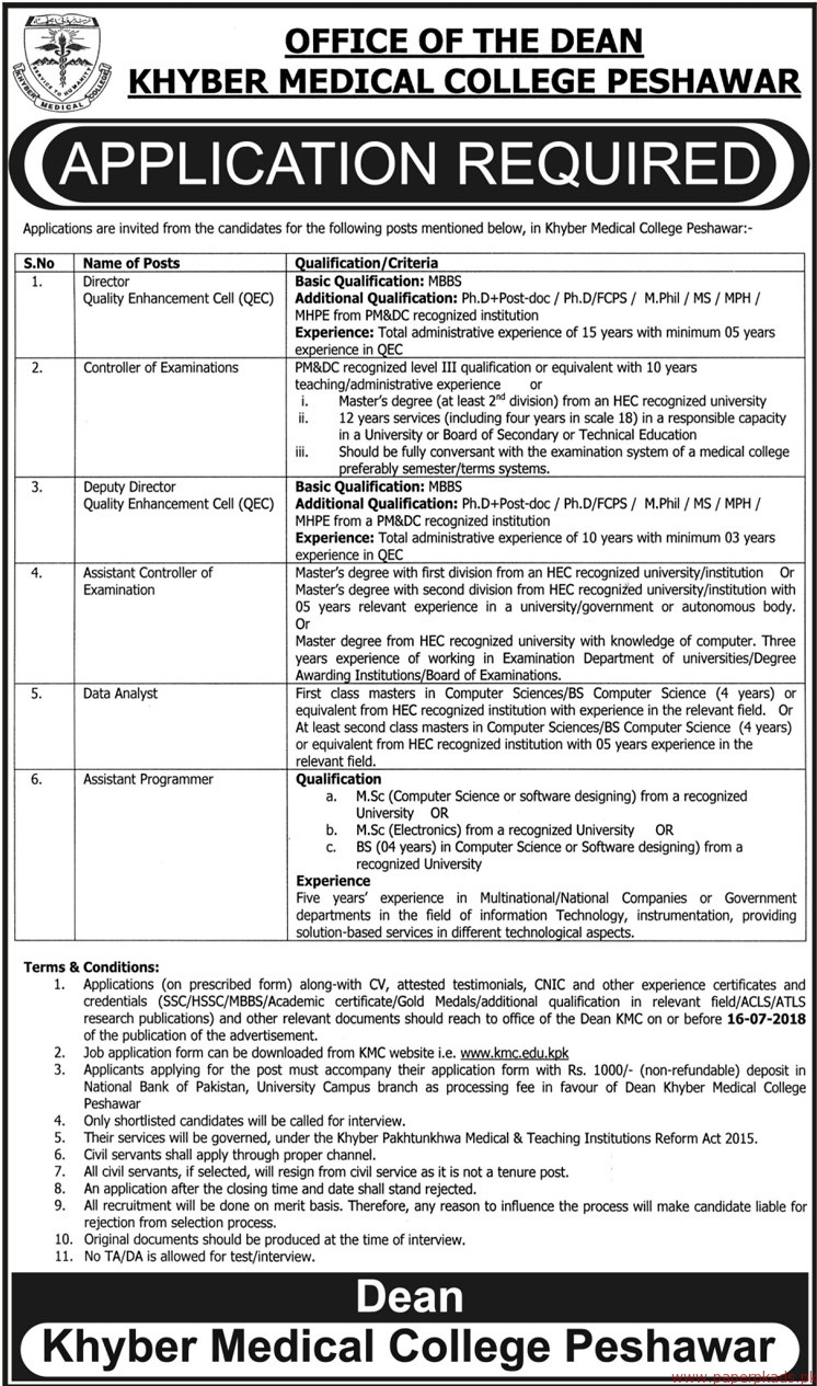 Khyber Medical College Peshawar Jobs 2018 Latest