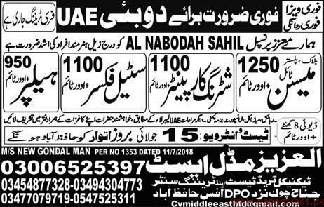 Mason Shuttring Carpainter Steel Fixers and Other Jobs in UAE