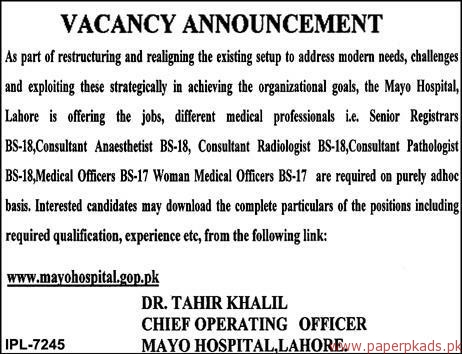 Mayo Hospital Lahore Jobs 2018 Latest