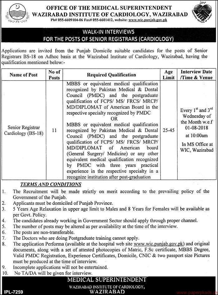 Medical Superintendent Wazirabad Institute of Cardiology Jobs 2018 Latest