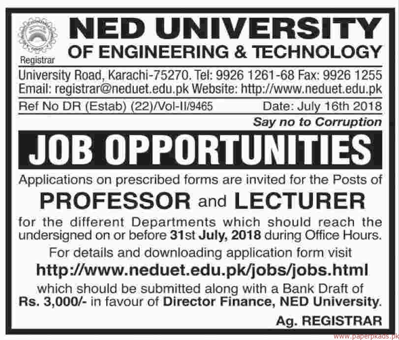 NED University of Engineering & Technology Jobs 2018 Latest