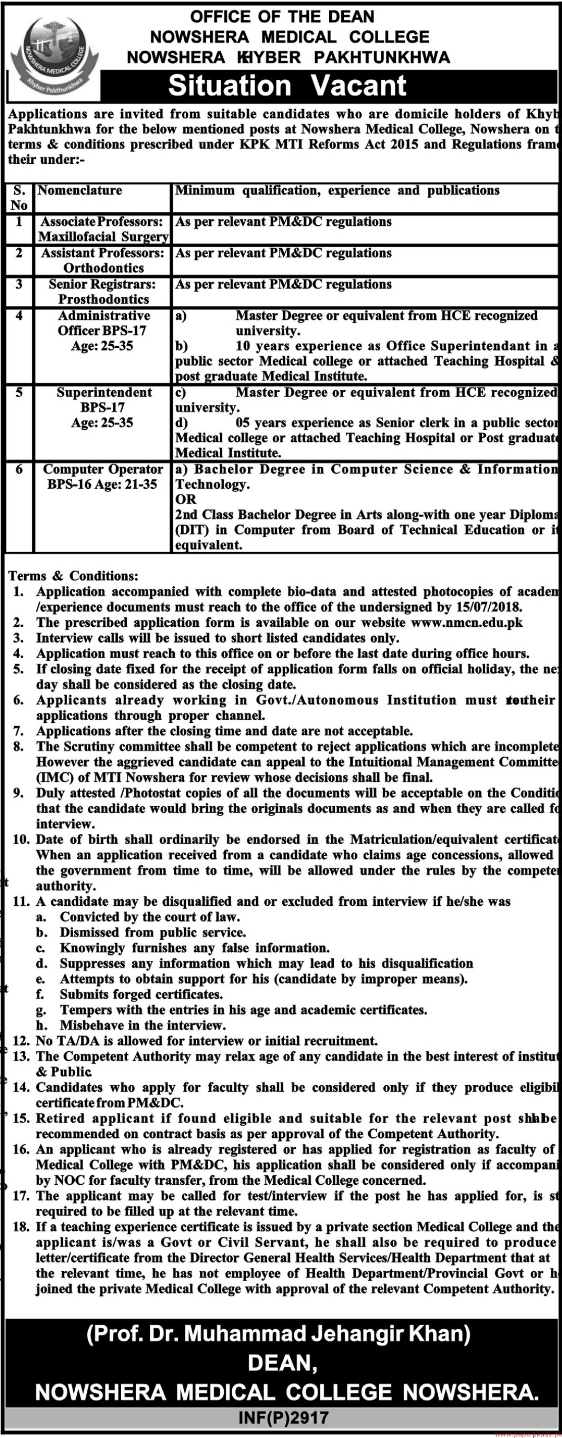Nowshera Medical College Jobs 2018 Latest