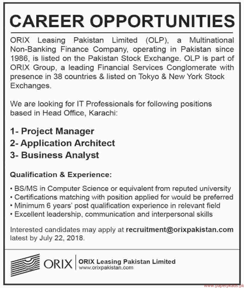ORIX Leasing Pakistan Limited Jobs 2018