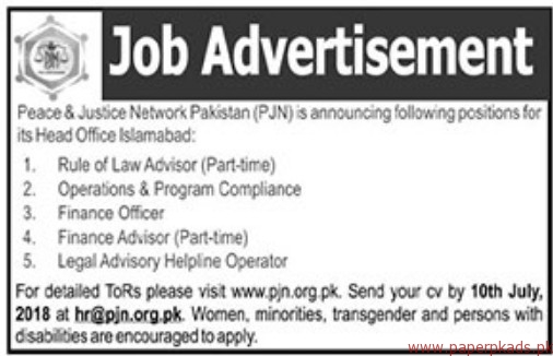 Peace & Justice Network Pakistan Jobs 2018 Latest