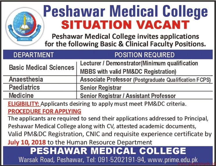 Peshawar Medical College Jobs 2018 Latest Jobs