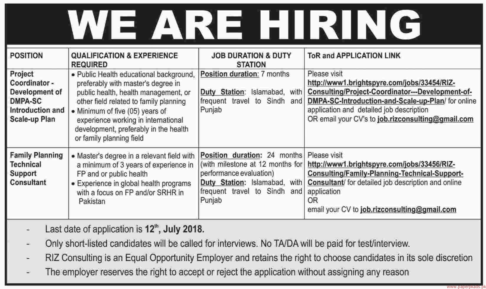 Project Coordinator and Family Planning Technical Support Consultant Jobs 2018 latest