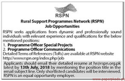 Rural Support Programmes Network RSPN Jobs 2018 Latest