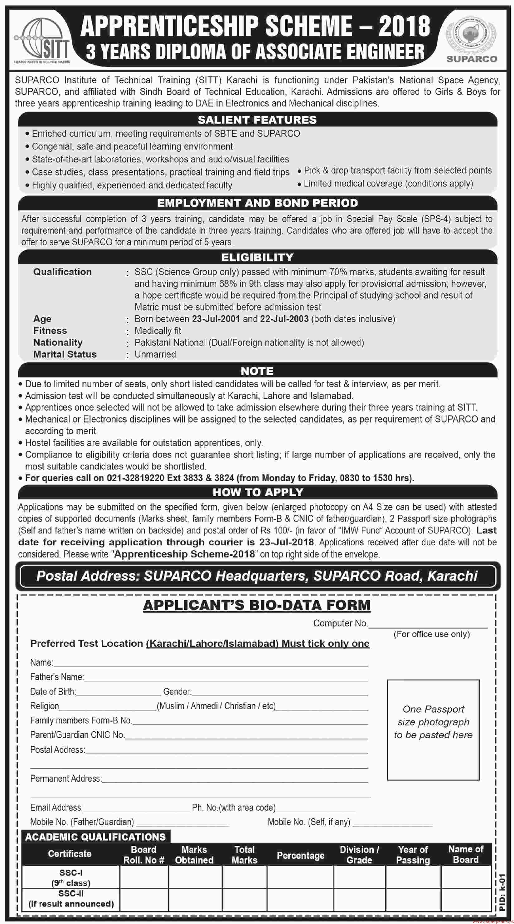 SUPARCO Institute of Technical Training Jobs 2018 Latest