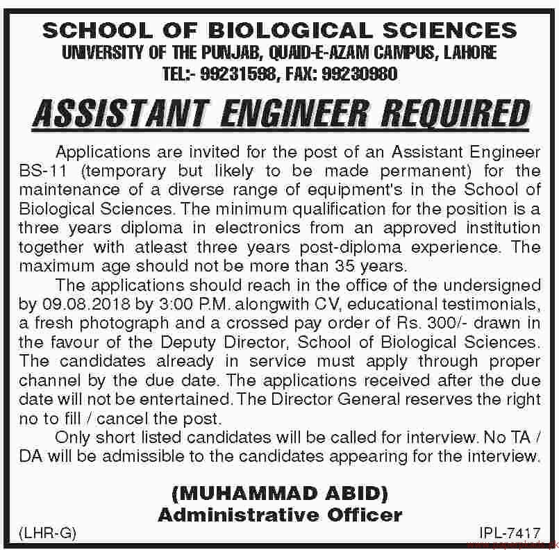 School of biological Sciences Jobs 2018 Latest