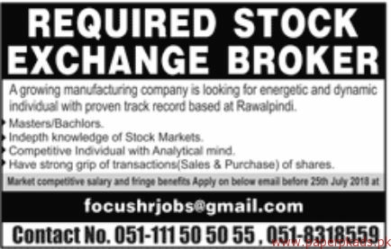 Stock Exchange Brokers Required