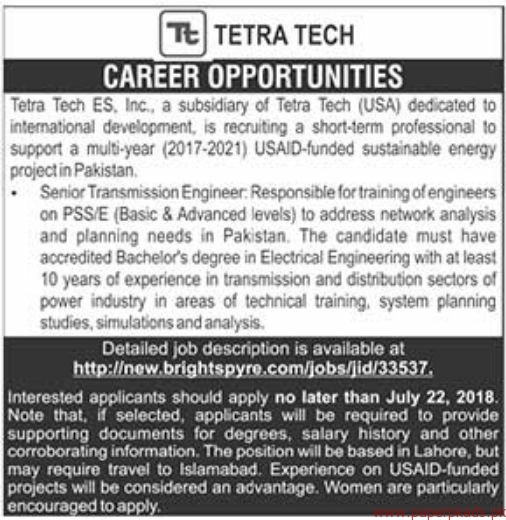 Tetra Tech ES Jobs 2018 Latest