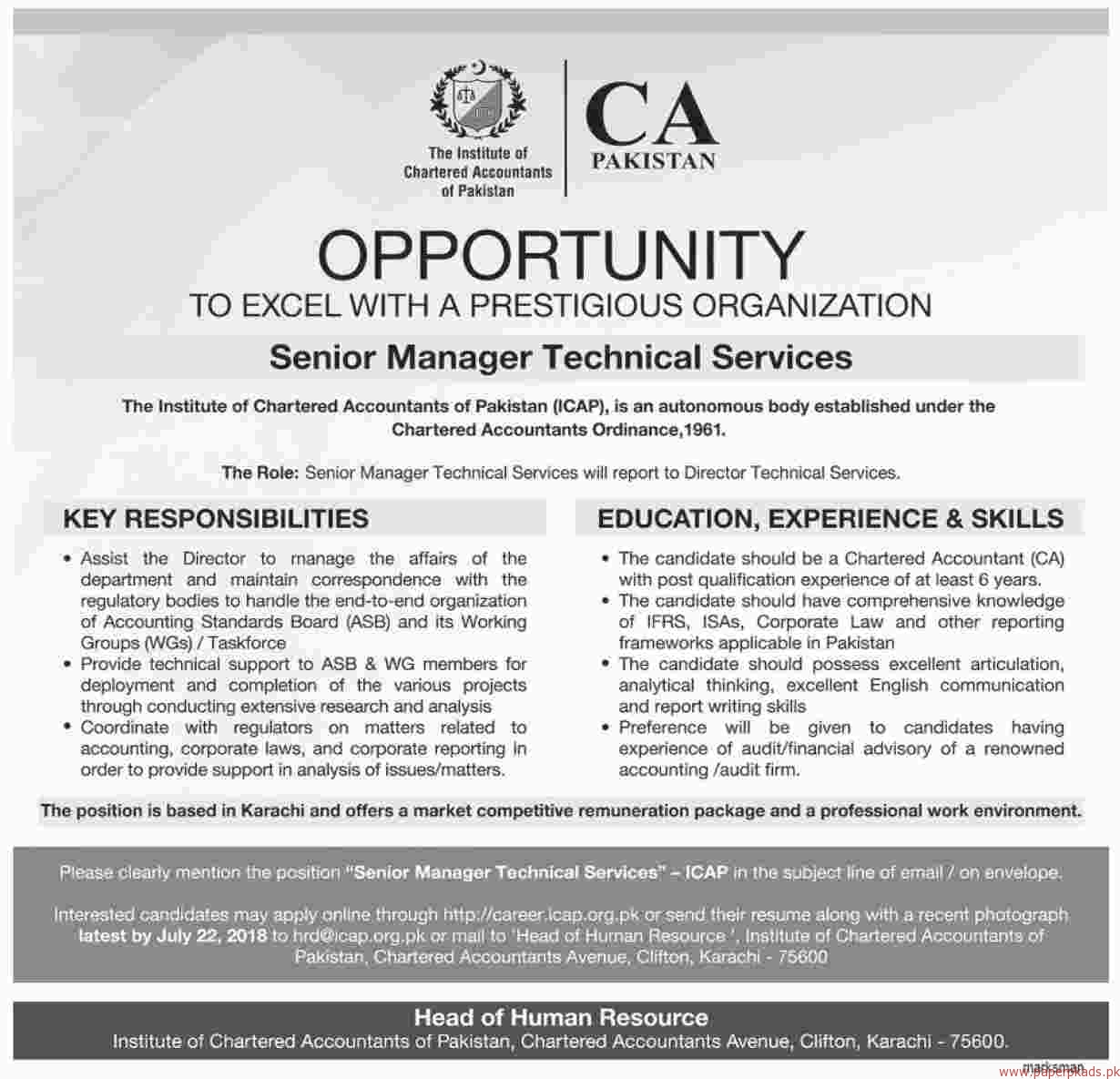 The Institute of Chartered Accountants of Pakistan Jobs 2018 Latest