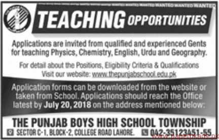 The Punjab Boys High School Jobs 2018 Latest