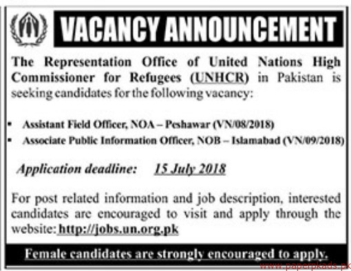The Representation Office of United Nations High Commissioner for Refugees Jobs 2018 Latest