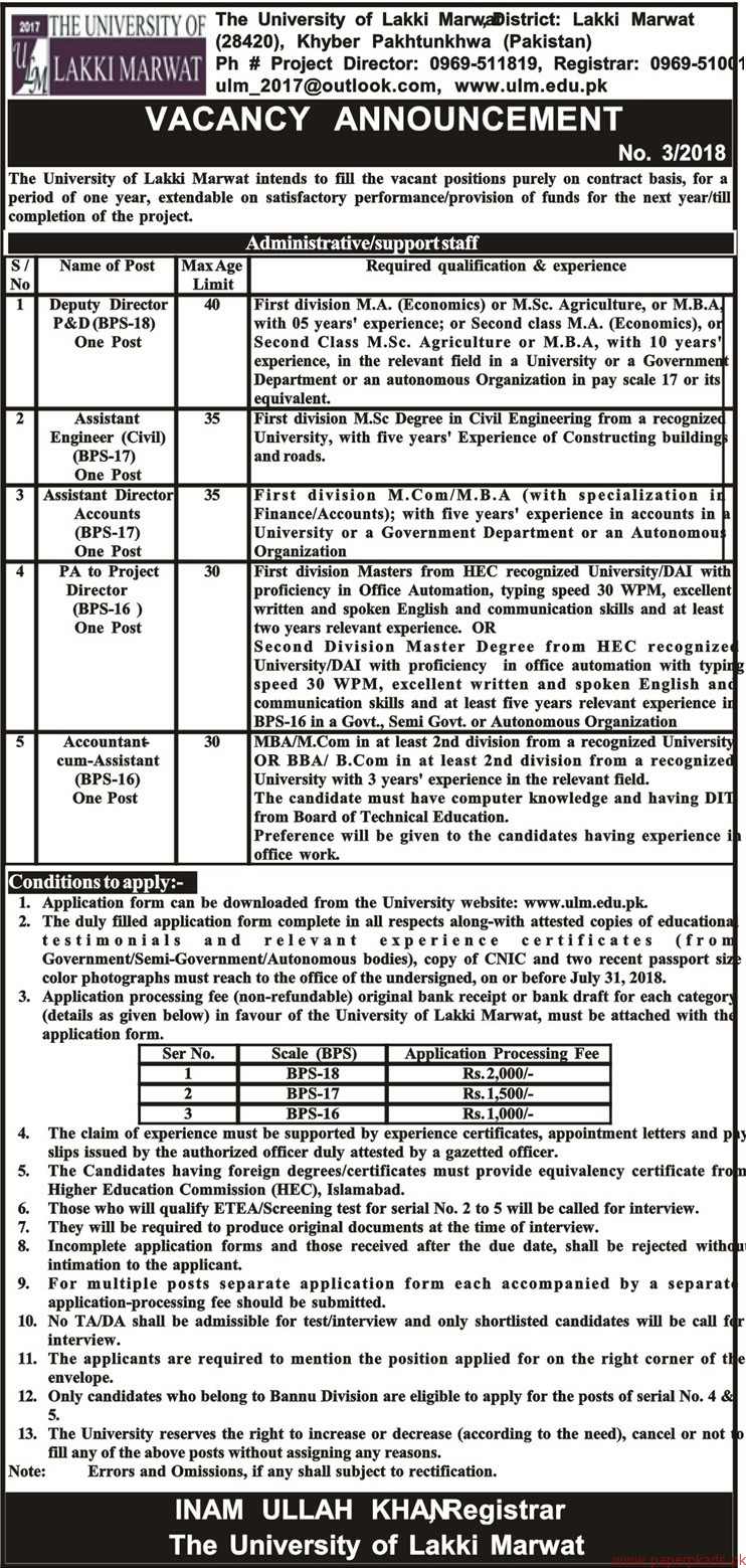 The University of Lakki Marwat Jobs 2018 Latest
