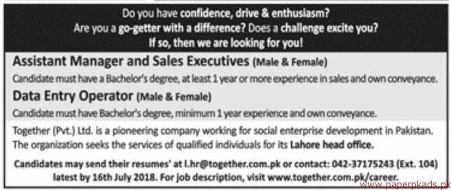 Together Private Limited Jobs 2018 Latest