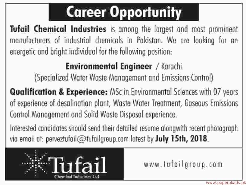 Tufail Chemical Industries Jobs 2018 Latest