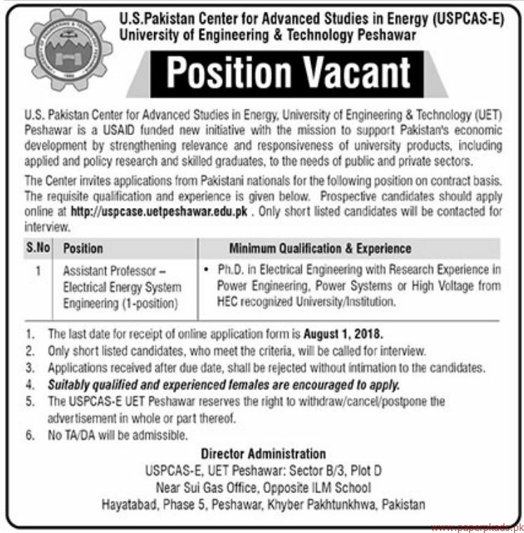 US Pakistan Center for Advanced Studies in Energy UET Jobs 2018 Latest