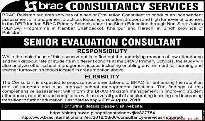 BRAC Pakistan Staff Required