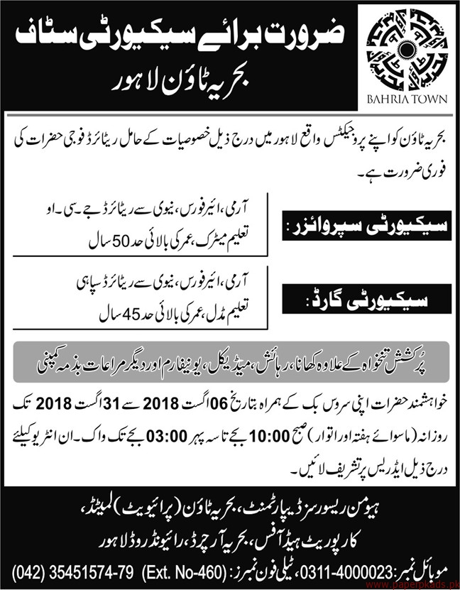Bahria Town Staff Required