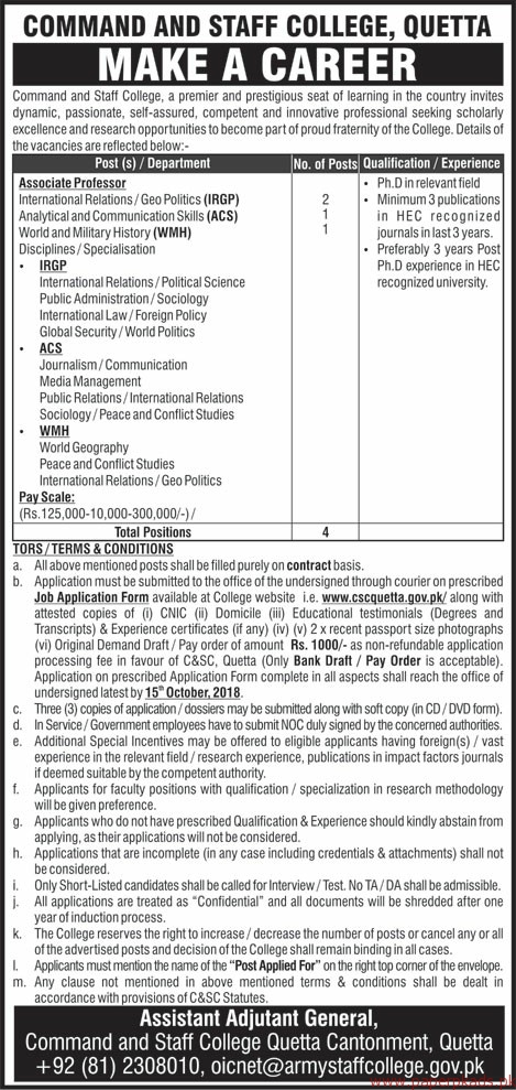 Command and Staff College Jobs 2018 Latest
