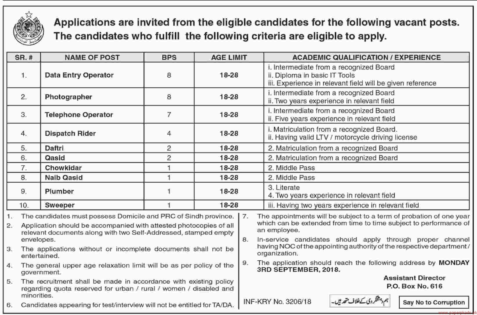 Data Entry Operator Photographer Telephone Operator and Other Jobs 2018 Latest