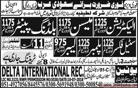 Electricians Mason Labours and Other Jobs in saudi Arabia