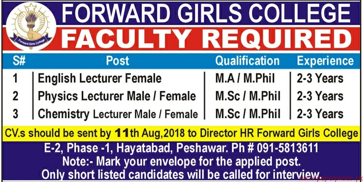 Forward Girls College Jobs 2018 Latest