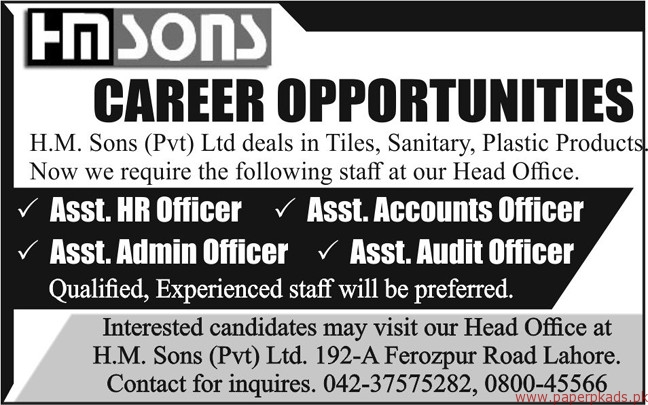 HM Sons Private Limited Jobs 2018 Latest