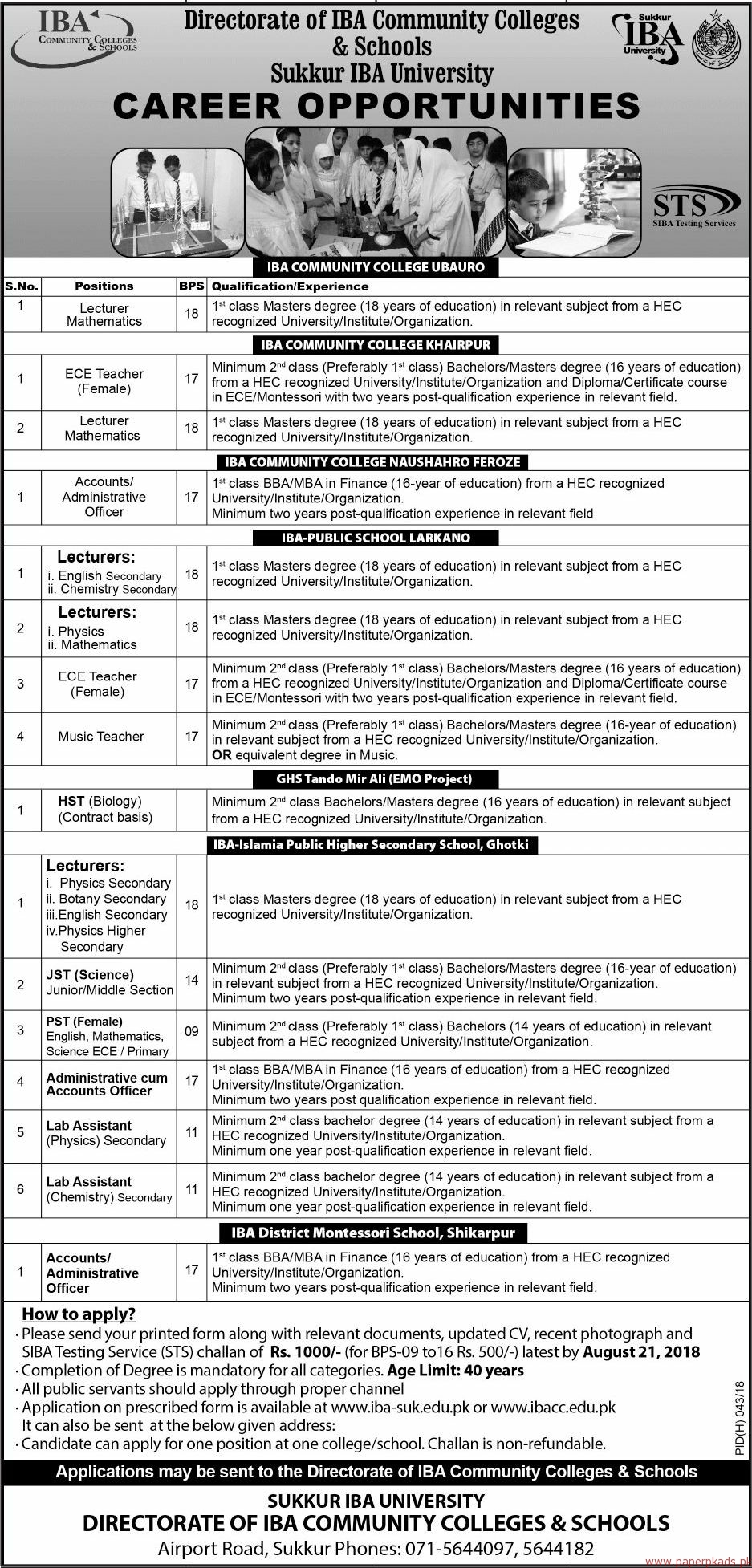 IBA Sukkur University Jobs 2018 Latest