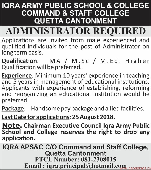 IQRA Army Public School & College Command & Staff College Jobs 2018 Latest