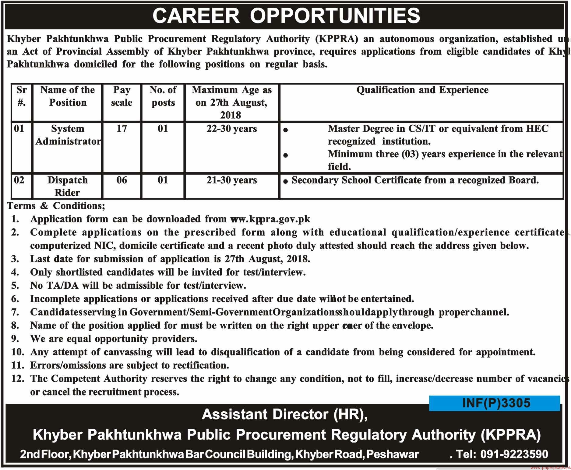 KPK Public Procurement Regulatory Authority Jobs 2018 Latest