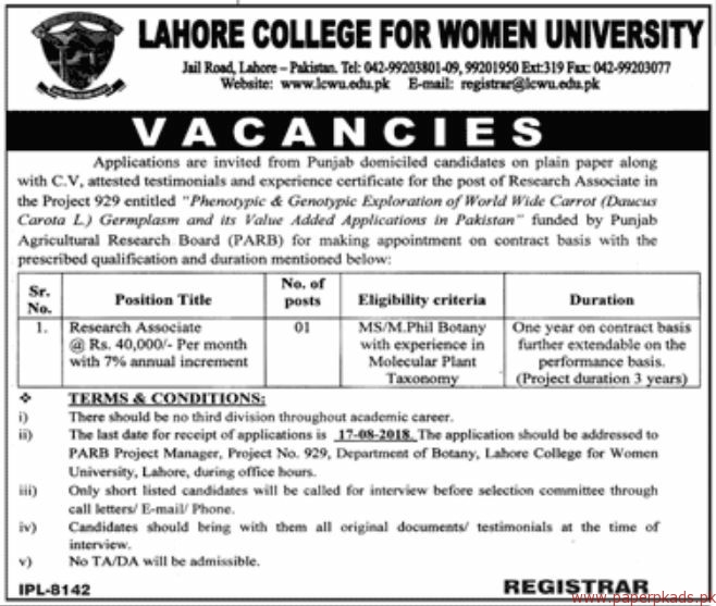 Lahore College for Women University Jobs 2018 Latest