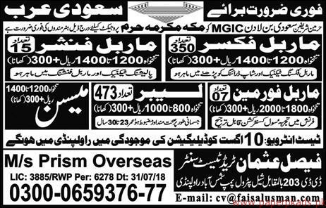 Marble Fixers Mason Labours Jobs in Saudi Arabia