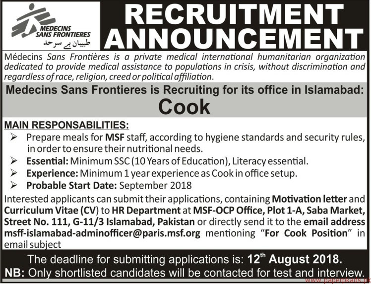 Medecins Sans Frontiers Jobs 2018 Latest