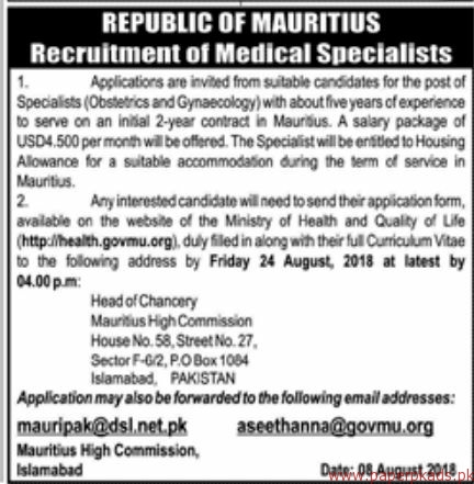 Medical Specialists Required