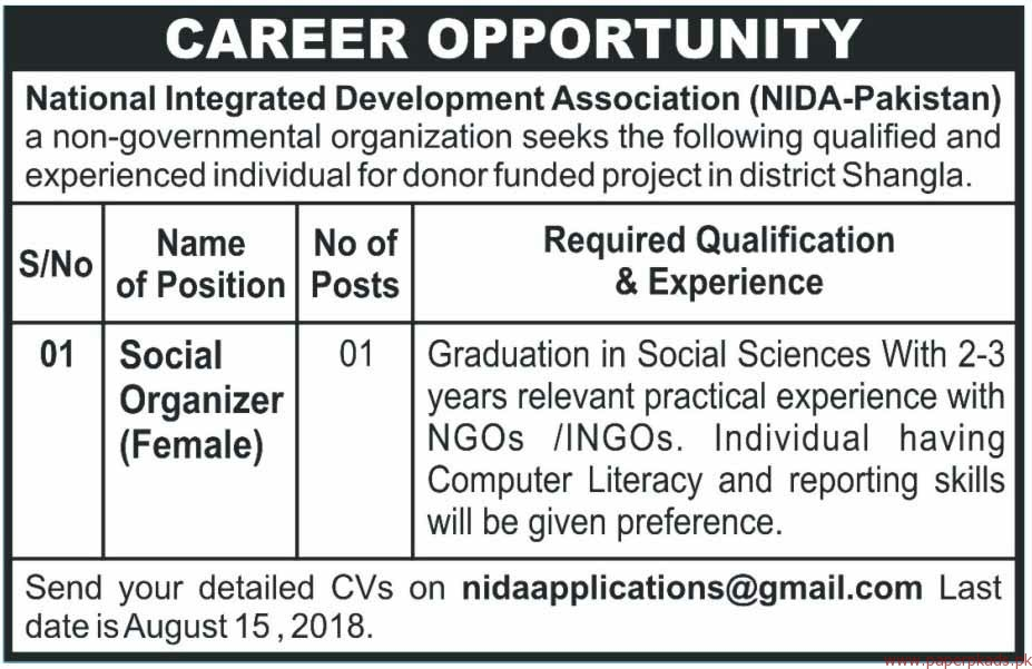 National Integrated Development Association Jobs 2018 Latest