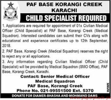 PAF Base Koragi Jobs 2018 Latest