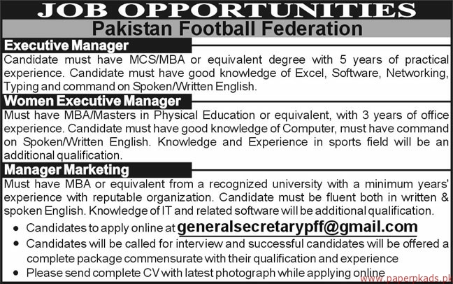 Pakistan Football Federation Jobs 2018 Latest